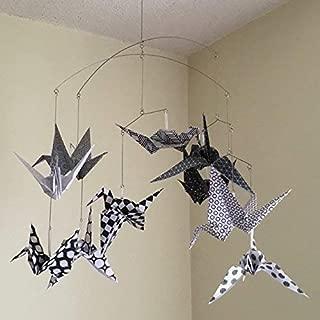Modern Black and White Origami Bird Crane Mobile