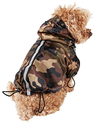 Price comparison product image PET LIFE 'Reflecta-Sport' Fashion Insulated Adjustable and Reflective Windproof Water-Resistant Pet Dog Coat Jacket Rainbreaker w / Removable Hood,  Small,  Camouflage