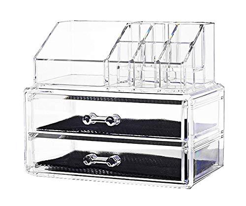 DoubleBlack Cosméticos joyería del estante del maquillaje del organizador de la caja del claro del caso cajones de almacenamiento 2