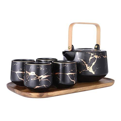 LOGO Tetera Moderna, mármol té de Conjunto de Servicios de cerámica Grande del pote del té, de 4 Piezas de Tazas de té con Bandeja de Madera, Tazas de té Conjunto for el hogar y la Oficina (Negro)