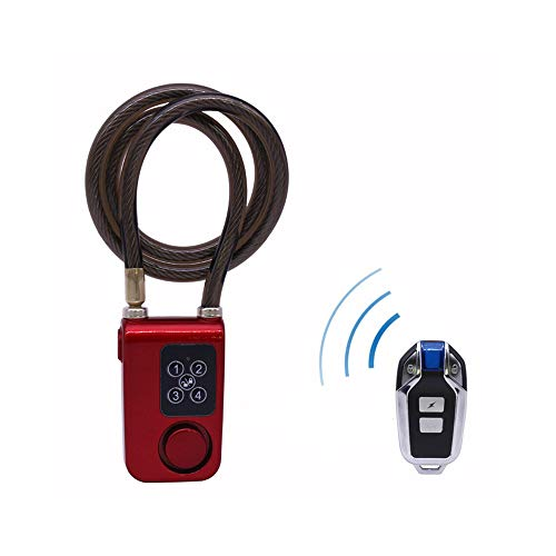 Xiaokaikai New Version-Bike Lock Alarm with Remote Universal Security Alarm Lock System Anti-Theft Vibration Alarm Motorcycle Bicycle Alarm,Waterproof Alarm Cable Lock (Red, One Size)