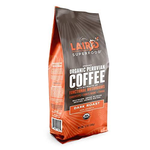 Laird Superfood Dark Roast Coffee with Functional Mushrooms - Certified Organic Peruvian Ground Coffee Beans, 12oz Bag