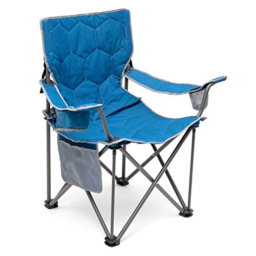 Sunnyfeel Oversized Camping Chair, Heavy Duty, Supports 500 LBS, Padded Portable Folding Chair with Armrest Cup Holder & Side Pocket for Beach/Lawn/Outdoor/Travel/Picnic, Storage Camp Chairs (Blue)