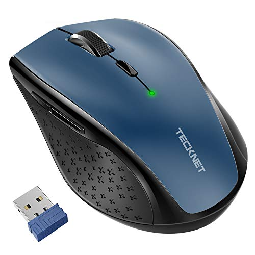 TeckNet Classic 2.4G Portable Optical Wireless Mouse with USB Nano Receiver for Notebook,PC,Laptop,Computer,6 Buttons,30 Months Battery Life,4800 DPI,6 Adjustment Levels (Blue)