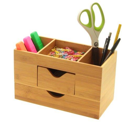Tischorganizer Schreibtisch Box mit 2 Schubladen, Butler Office aus Bambus (Bürobedarf & Schreibwaren)