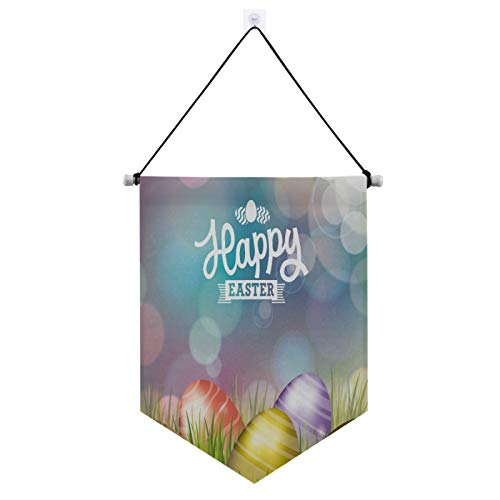 Qilmy Easter Door Banner Hanging,Beautiful Easter Eggs Party Welcome Porch Sign Banner, Hanging Door Boutique Accessories Gate Flag Decoration Outdoor Indoor