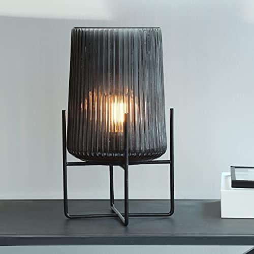 MJ PREMIER Lámpara de mesa, funciona con pilas, con función de temporizador, lámpara de noche inalámbrica de cristal y marco de metal, decoración para mesa, salón, dormitorio, balcón (gris, grande)