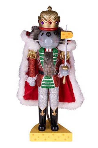 """Clever Creations - Traditioneller Nussknacker Mausekönig - mit Schwert & Käse-Sockel - Glitzer-Design - Festliche Weihnachtsdeko - perfekt für Regale & Tische - Holz - 14"""" (35,6 cm)"""