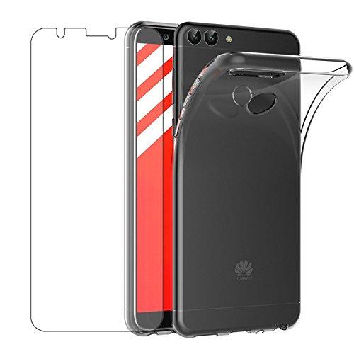 """Leathlux Cover Huawei P Smart Custodia + Pellicola Protettiva in Vetro Temperato Morbido Trasparente Silicone Custodie Protettivo TPU Gel Sottile Cover per Huawei P Smart/Huawei Enjoy 7S 5.65"""""""