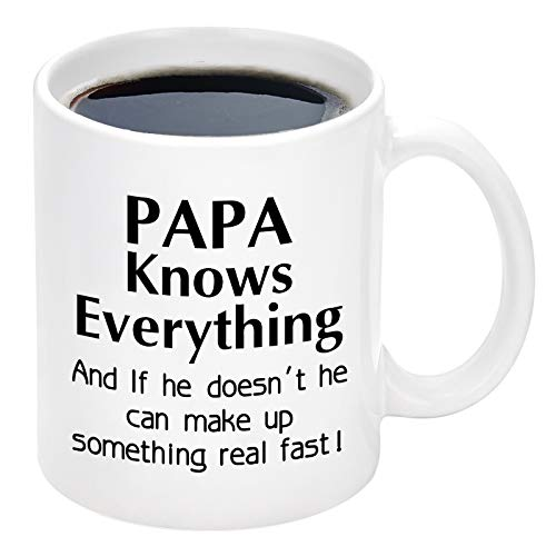 Papa Knows Everything Mug Dad Mug Gift for Men Father's Day Gift from Kids Daughter Son Christmas Birthday Gifts for Dad Men Novelty Ceramic Coffee Mugs 11 oz