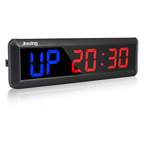 Jhering LED Temporizador de Intervalo, Cronómetro, Reloj de Cuenta Atrás/Arriba, Temporizador de Gimnasio con Remoto, Temporizador de Entrenamiento para Gimnasio en Casa Fitness 2.3'(Azul/Rojo)