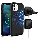 Magnetic Wireless Fast Charging Case for iPhone 12/12 Pro Compatible with Mag-Safe Charger, 3 in 1 Magnetic Phone Case Charger with Auto-Clamping Air Vent Car Mount and Gameing Dock