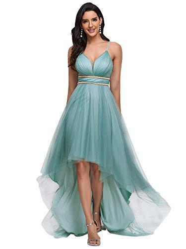 Ever-Pretty Vestido de Fiesta Asimétrico Largo para Mujer Sin Mangas de Tirante Corte Imperio Alto Bajo Azul Polvoriento 40