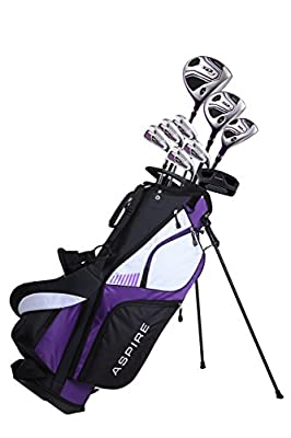 "Aspire XD1 Ladies Womens Complete Golf Clubs Set Includes Driver, Fairway, Hybrid, 6-PW Irons, Putter, Stand Bag, 3 H/C's Purple (Right Hand Tall Size +1"")"