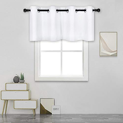 DECOVSUN Solid White Grommet Valance for Windows 52X18 Inches Valance for Kitchen Blackout Curtain Valance for Living Room Short Straight Drape Valance for Bedroom Kids Room 1 Panel