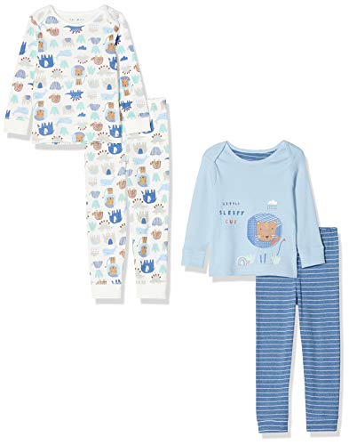 Mothercare Io B Animal Friends 2pk Pj Pigiama, Nero (Blue 128), Early Baby (Manufacturer Size:2.3) Unisex-Bimbi