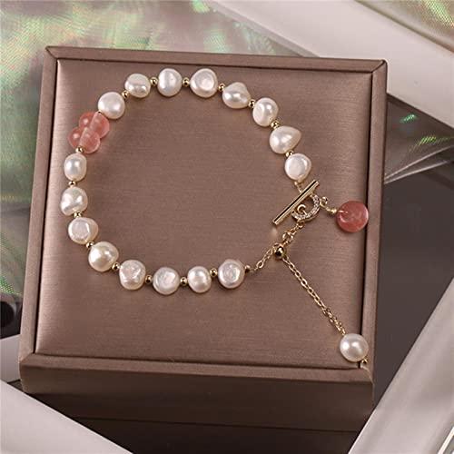 SONGK Pulsera clásica con Colgante de Perlas de Piedra Natural a la Moda para Mujer, Exquisita Pulsera de la Suerte, joyería de Lujo
