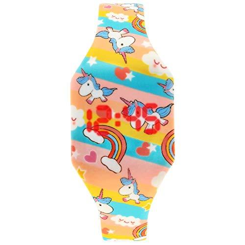 Reloj Niño ZWRY Relojes de Dibujos Animados para niños, Lindo Reloj Digital LED, Reloj electrónico para niños y Estudiantes, Reloj de Dinosaurio para niñas, niños, Unicornio, Arco Iris