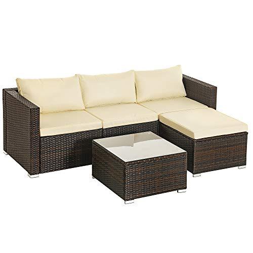 SONGMICS Gartenmöbel-Set, 5-teilig, aus Polyrattan, handgeflochten, Gartensofa, Gartentisch mit Glasplatte, mit Kissen, für Outdoor, Garten, braun-beigeGGF005K01