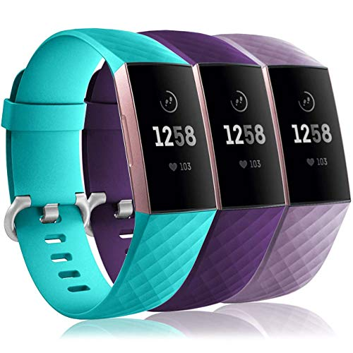 Wepro Waterproof Bands Compatible with Fitbit Charge 4 / Charge 3 / Charge 3 SE for Women Men, 3-Pack Replacement Wristbands for Fitbit Charge 3 / Charge 4, Small, Lavender, Teal, Plum