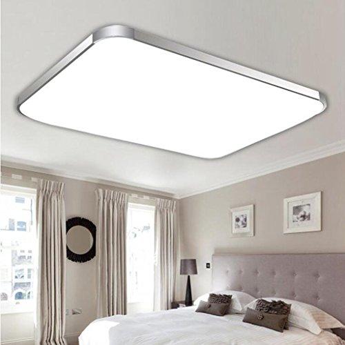 BiuTeFang LED plafonnier en acrylique en aluminium avec lampe de salon à LED simple rectangulaire avec cadre en argent blanc 30x30cm 24W
