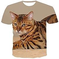 半袖 夏の新しいファッション3D印刷悲しい悲しい子猫の男性のカジュアル原宿の女性のTシャツ半袖Oネックトップ女性 ゆったり カスタマイズ Tシャツ