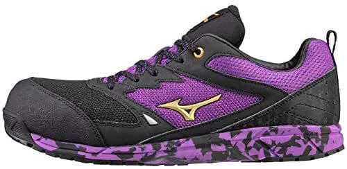 数量限定 安全靴 ミズノ mizuno プロテクティブスニーカー F1GA1803 オールマイティVS 28.0 黒×金×紫