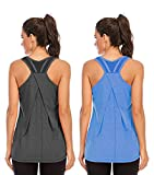 Nekosi Camiseta de tirantes para mujer, para yoga, correr, fitness, sin mangas, de malla, 01-gris y azul, XL