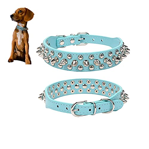 SKXEO Collar de perro con tachuelas de piel sintética ajustable con remache de espigas, cuello de piel sintética acolchado, collar de mascota para perros pequeños, medianos y grandes