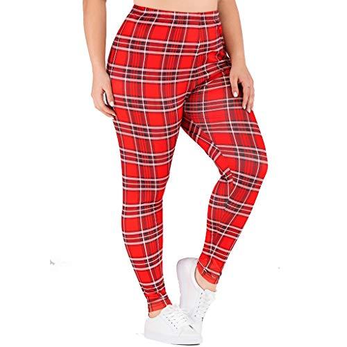 MOTOCO Damen Gamaschen Elastische hohe Taille Plus Größen Plaid Drucksport Beiläufige Lange Hosen(4XL,Rot)