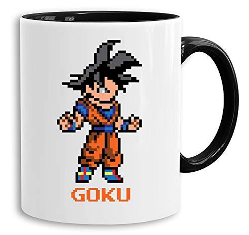 Goku Pixel - Tasse Kaffeetasse Son Ruffy Luffy Naruto Saitama One Dragon Master Goku Ball Vegeta Roshi Piece Db, Farbe:Weiß