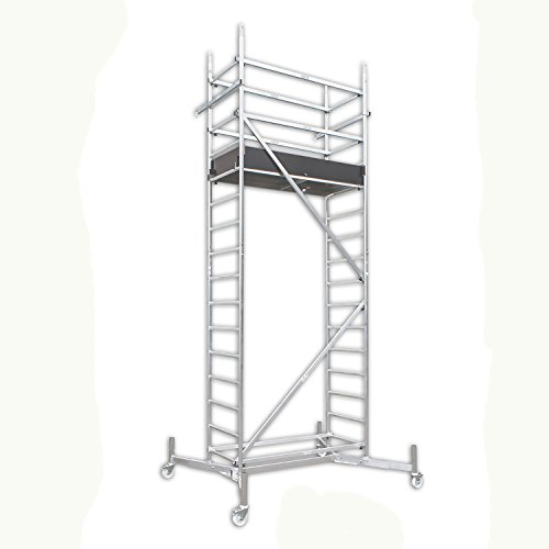 ALTEC Rollfix 500, Arbeitshöhe 5 m neu, inkl. teleskopierbarer Traversen, Rollen (Ø 125 mm) und Wandanker, TÜV-geprüft,