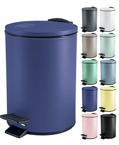Spirella Kosmetikeimer 5 Liter Edelstahl mit Absenkautomatik und Inneneimer Adelar Badezimmer Mülleimer Softclose Abfalleimer Blau