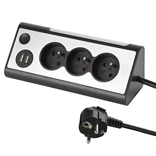 Electraline 35430, Multipresa angolare, 3 Prese, 2 Porte USB Interruttore ON/OFF per Spegno/Accensione LED, Cavo 1,5 m, Grigio/Nero