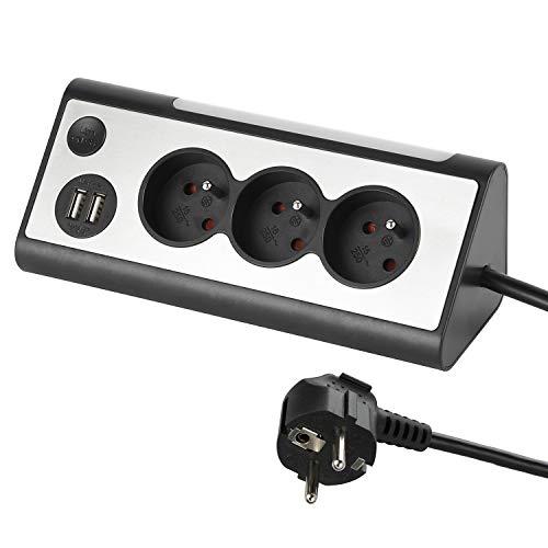 Electraline 35430, Bloc multiprises d'Angle, 3 Prises, 2 Ports USB Interrupteur on/Off pour éteindre/Allumer la LED, Câble 1,5M, Gris/Noir