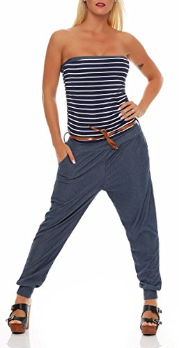 Malito Damen Einteiler im Marine Design   Overall mit Gürtel   Jumpsuit im Jeans Look   Romper - Playsuit - Bandeau 9650 (dunkelblau)