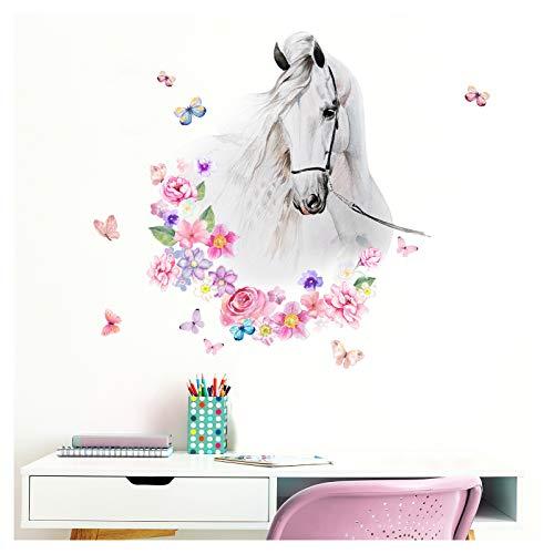 Little Deco Wandtattoo Pferdekopf mit Blumen & Schmetterlingen I L - 55 x 61 cm (BxH) I Kinderzimmer Babyzimmer Kinder Aufkleber Wandaufkleber Wandsticker DL464