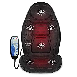 in budget affordable Snailax Memory Foam Massage Seat Cushion-Heatback Massager, 6 Vibrating Massage Nodes and 2…