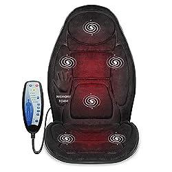 professional Snailax Memory Foam Massage Seat Cushion-Heatback Massager, 6 Vibration Massage Nodes, 3…