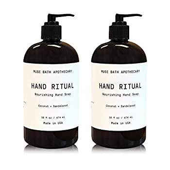 Muse Bath Apothecary Hand Ritual - Aromatic and Nourishing Hand Soap 16 oz Infused with Natural Essential Oils - Coconut + Sandalwood 2 Pack