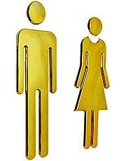 PETSOLA par damer och män WC skylt dörrskylt toalettskylt dörrdekoration – guld