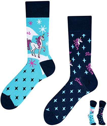 TODO Colours unisex lustige verrückte Motiv Socken Unicorn Einhorn (39-42 EU, Unicorn)