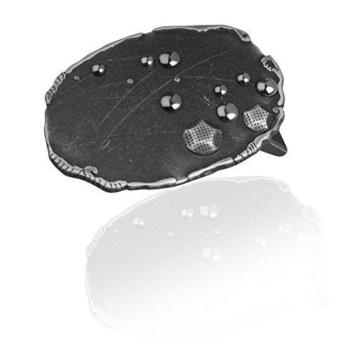 Gürtelschnalle Buckle 40mm Metall Silber Geschwärzt - Buckle Dots - Dornschliesse Für Gürtel Mit 4cm Breite - Silberfarben Geschwärzt