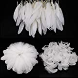 Mwoot White Feathers Plumas de Ganso, 250pcs Blanco Natural Plumas de Gallo Manualidades D...