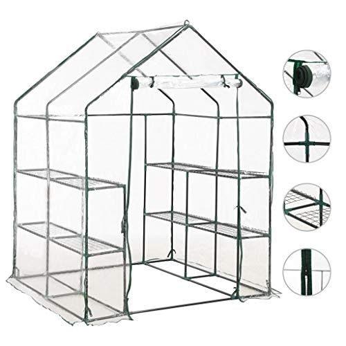 Irfora Walk-in Greenhouse with 8 Shelves, Large Reinforced Green House Heavy Duty Growhouse Steel Lightweight and Compact 143x143x195 cm