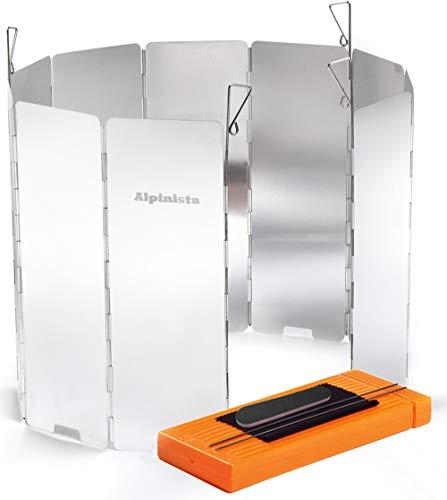 Alpinista 防風板 ウインドスクリーン 折り畳み式 アルミ製 10枚 7点セット ペグ4本ハードケース日本語説明...