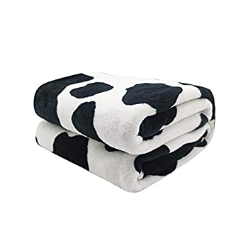 King Dare Black and White Cows Print Sofa Blanket Lightweight Travel Blanket Cozy Plush Keep Warm Small Throws Blankets for Baby/Kids/Youth/Adult 40x50 inch