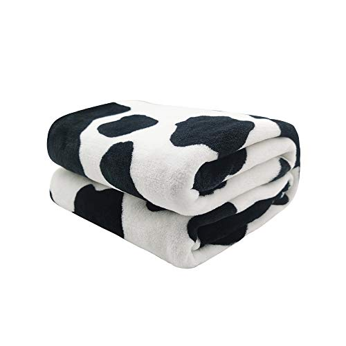 King Dare Black and White Cows Print Sofa Blanket, Lightweight Travel Blanket, Cozy Plush Keep Warm Throws Blankets for Baby/Kids/Youth/Adult 50x60 inch
