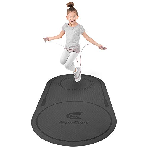 GymCope Jump Rope Mat, 51.2'' x 25.6'' x 1/4' Anti-slip Skipping Mat for Jumping Rope, TPE Fitness Mat for Kids, Noise Reduction, Exercise Mat for Yoga, Home Gym, Pilates