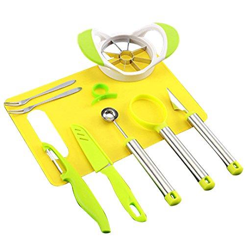 Condello Casa - Set di strumenti da cucina per intagliare e guarnire la frutta, scavino da melone, e cucchiai e coltelli di diverse forme, con taglia e cava-torsoli per mele, affetta-anguria, sbuccia-agrumi, forchette, tagliere ed altro, plastica, Green+yellow, 35CM LX19CM WX6CM H